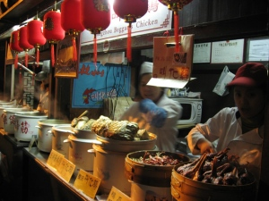 food streets are common throughout China. Some are cleaner than others.